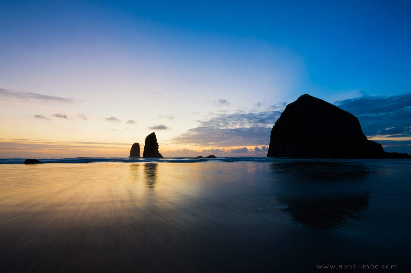 Haystack Rock, Canon Beach, OR at Sunset.
