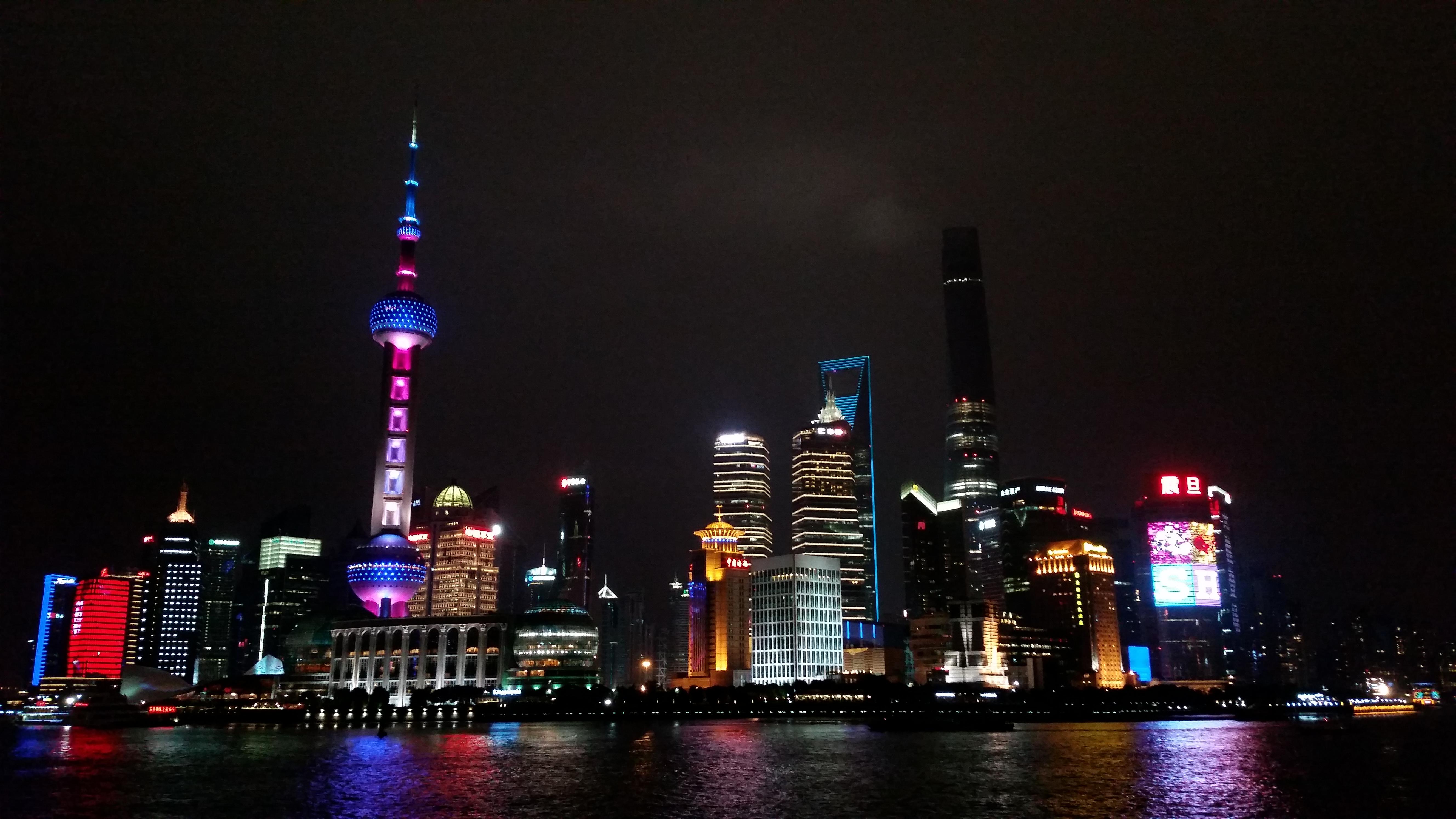 The Bund at night in Shanghai.